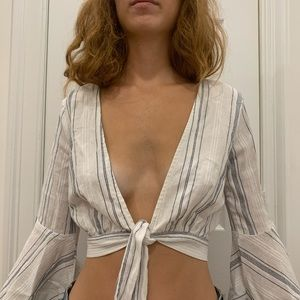 White blue striped cropped tie front top
